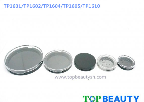 Round single well powder compact container with flat cover family