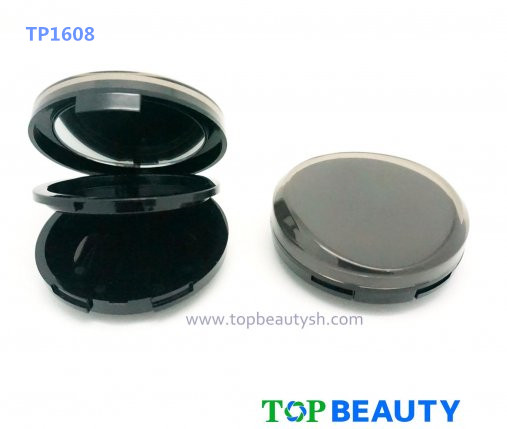 Round single well powder compact container with mirror curve top cover