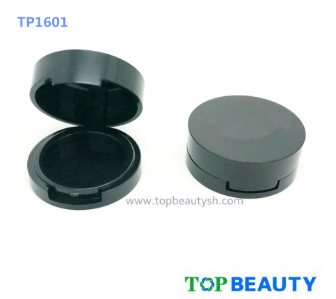 Round single well powder compact container with flat top cover