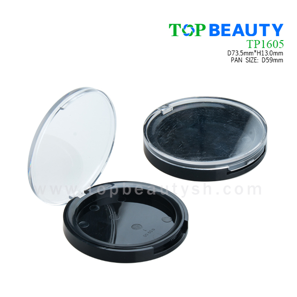 Round single well powder compact container with clear flat cover (TP1605)