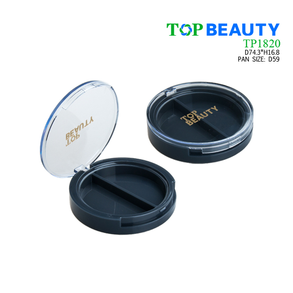Round duo well powder compact container with flat clear cover (TP1820)