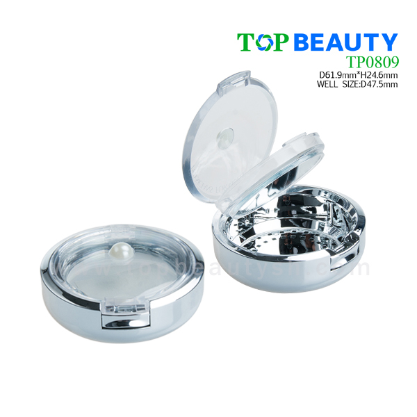 Plastic round single well compact powder container with clear cover(TP0809)