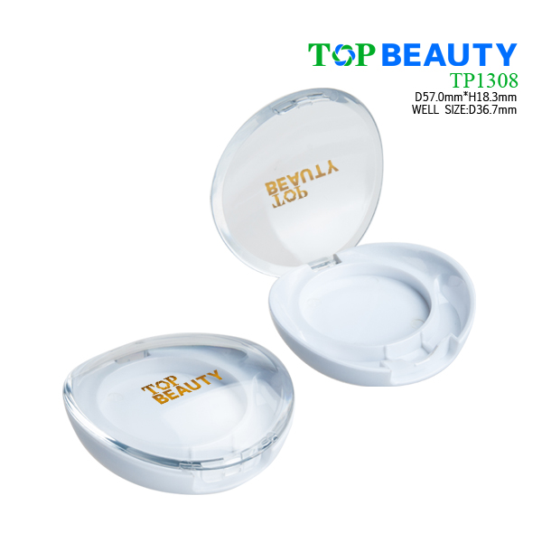 Round single well baby compact powder case with dome clear cover(TP1308)