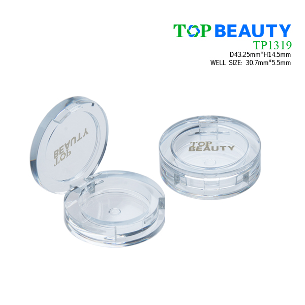 Round plastic compact single well case TP1319