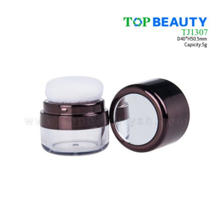 Cylinder Loose Powder Jar with Puff TJ1307