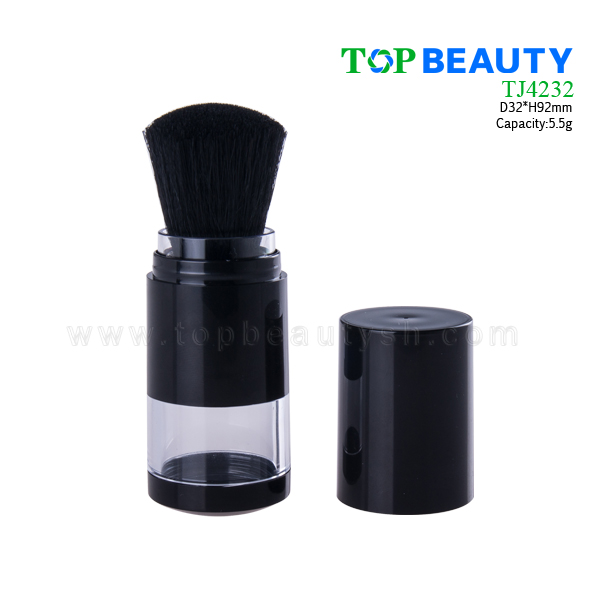 Plastic loose powder jar with brush TJ4232