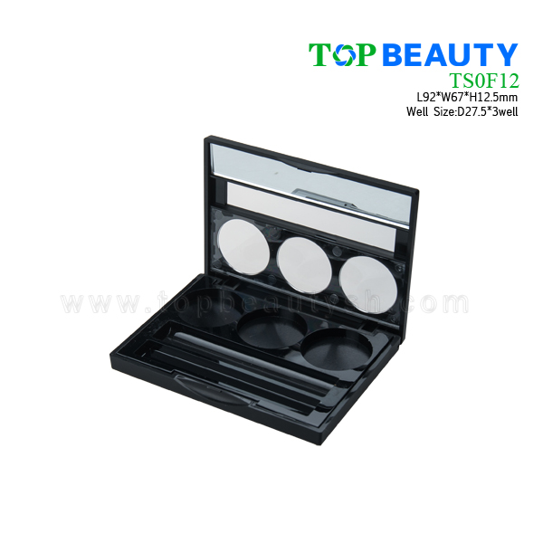 Rectangle Eye Shadow Case with 3 Wells(TS0F12)