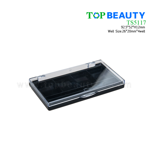 Square plastic eye shadow case with 4 wells TS5117