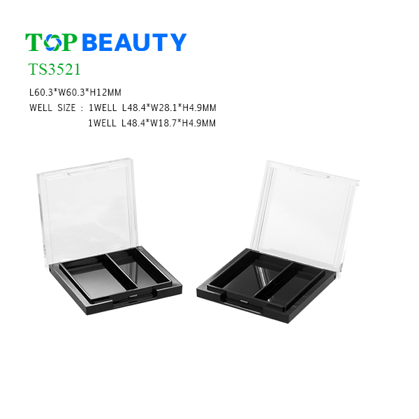 New Rectangle 2 well Injection Eye shadow Container (TS3521)
