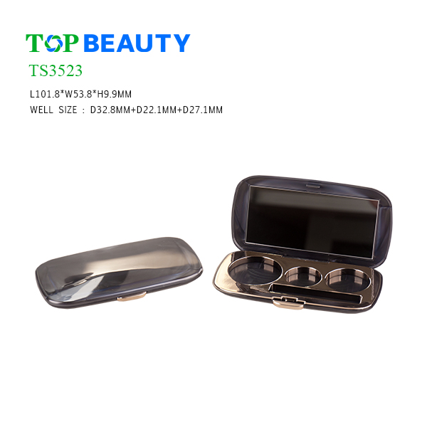 New Rectangle 3 round Well Eyeshadow Container (TS3523)