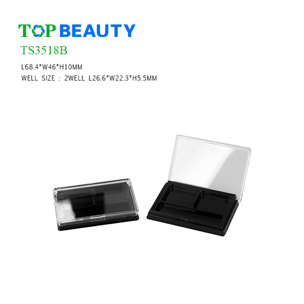 Rectangle 2 well Plastic Eyeshadow Container (TS3518B)