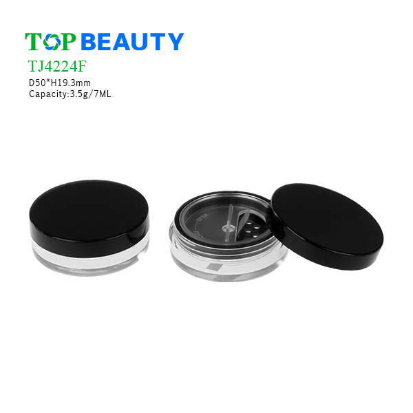New Round Plastic Clear Loose Powder Jar (TJ4224F)
