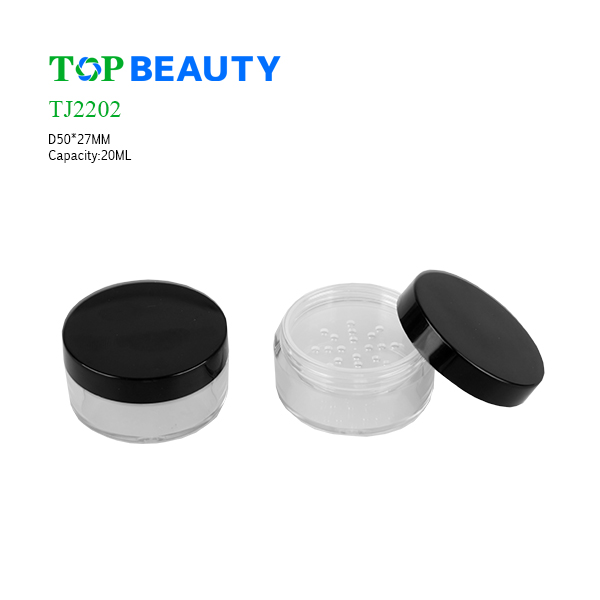 New Round Plastic Clear Loose Powder Jar (TJ2202)