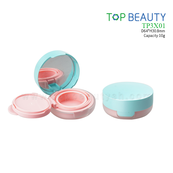 New Round Plastic  Air tight Cushion Compact Case (TP3X01)